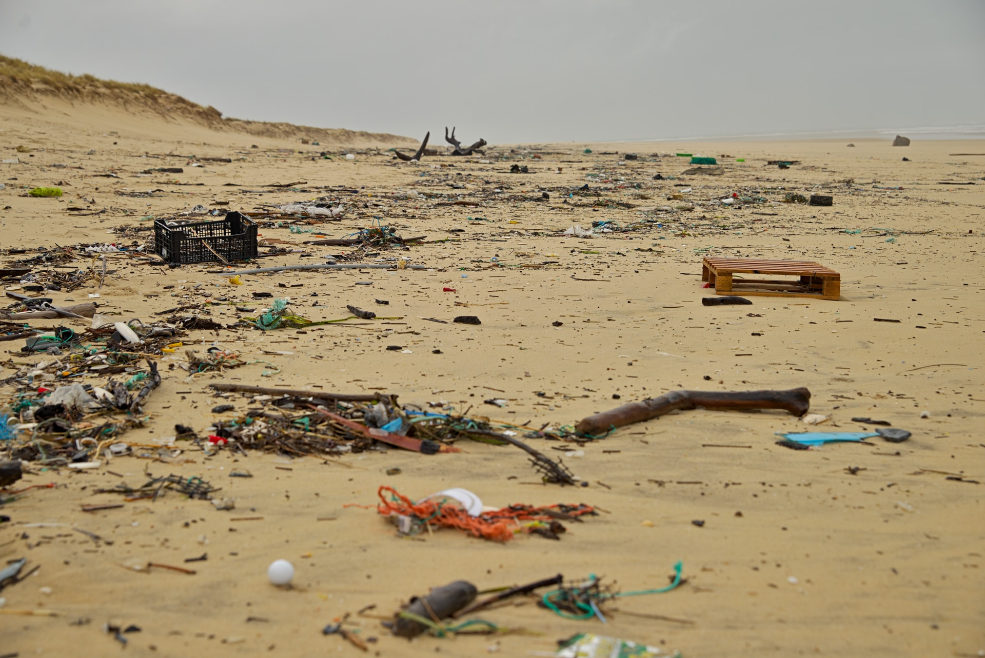 Plastic waste on the beach in Cap Ferret, France